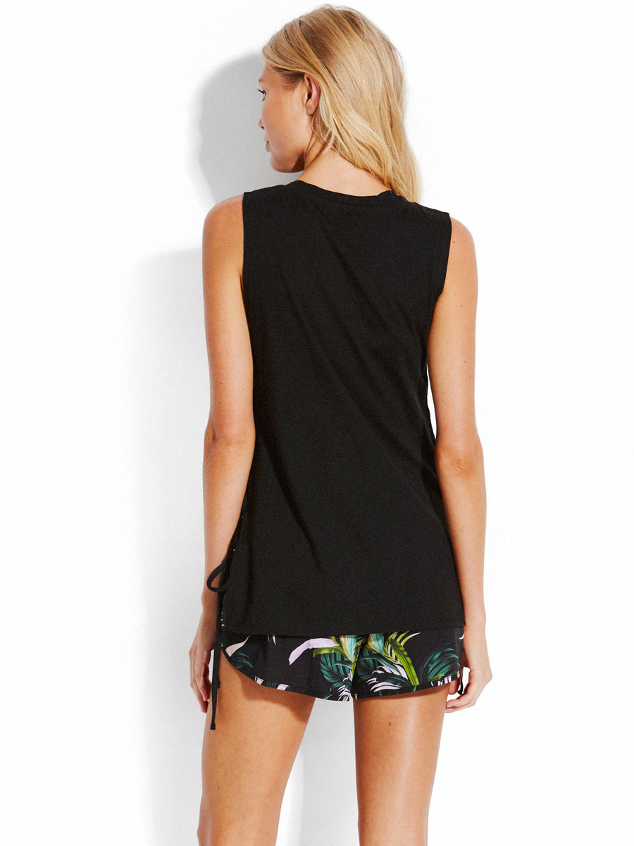 Seafolly Active Lace Up Singlet Black