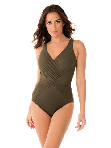 Miraclesuit Rock Solid Twister One Piece Olivetta Green
