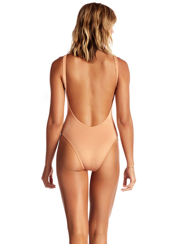 Vitamin A One Piece Leah Bodysuit Rose Gold Metallic
