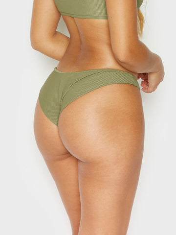Frankies Bikinis Greer Ribbed Cheeky Pant Olive