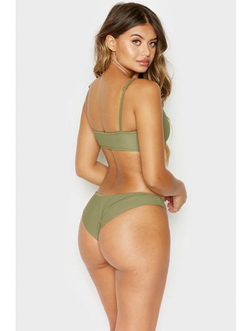 Frankies Bikinis Greer Ribbed Top Olive