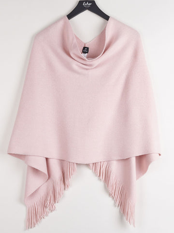 Echo Fringed Poncho In Jaipur Pink