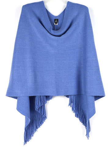 Echo Fringed Poncho In Denim