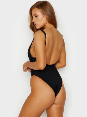 Frankies Bikinis Daphne Ribbed One Piece Cheeky Black