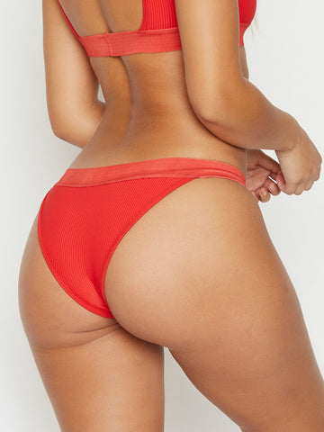Frankies Bikinis Drew Cheeky Bottom Red