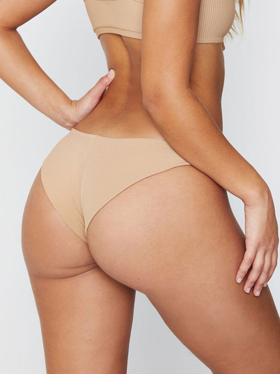 Frankies Bikinis Greer Ribbed Cheeky Pant Nude
