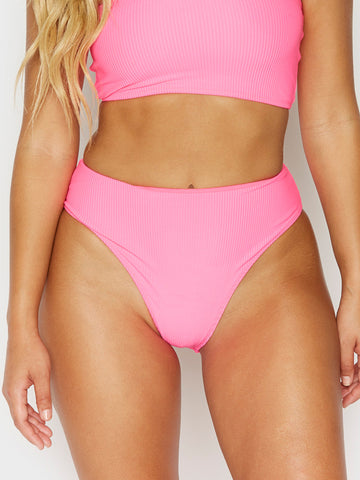 Frankies Bikinis Jenna High Waist Bottom Heart Throb Pink