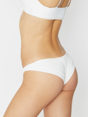 Frankies Bikinis Greer Ribbed Cheeky Pant White