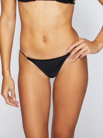 Frankies Bikinis Willa Ribbed Skimpy Pants Black