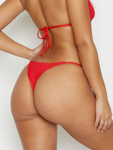 Frankies Bikinis Sky Ribbed Skimpy Bottom Red