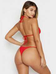Frankies Bikinis Sky Ribbed Top Red