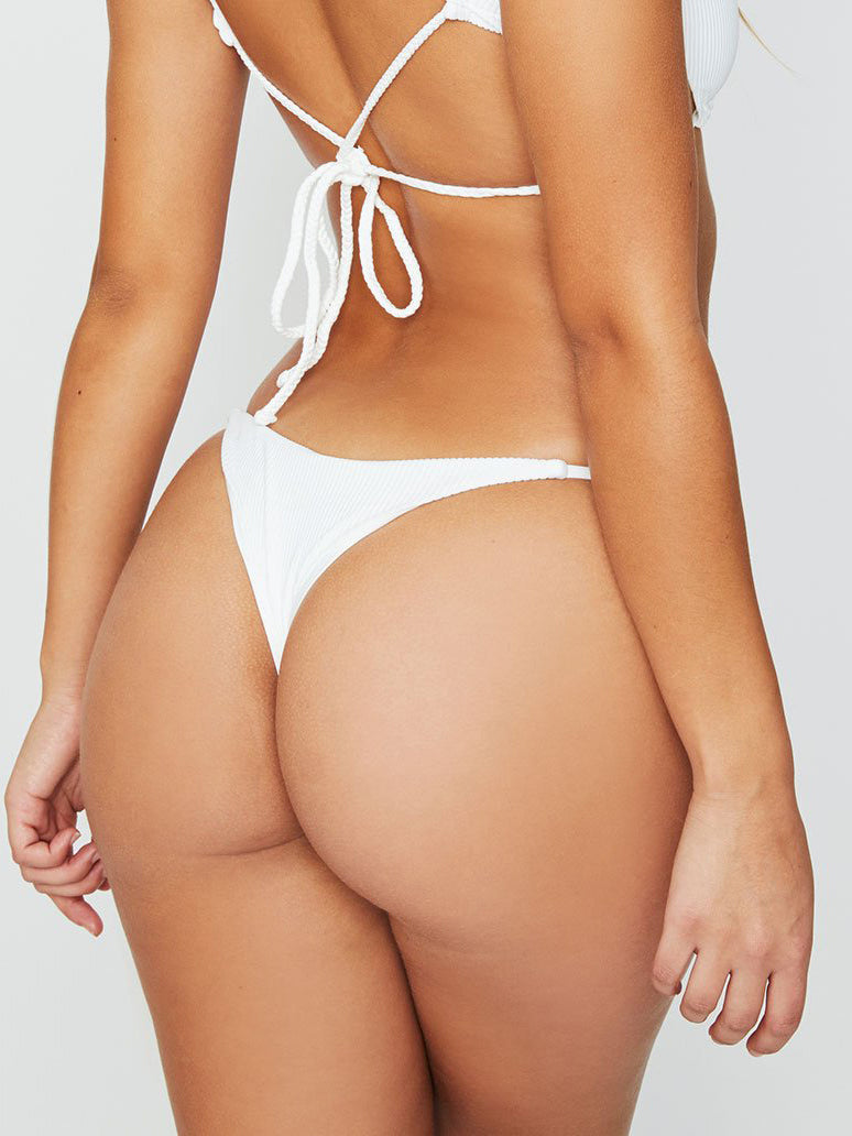 Frankies Bikinis Willa Ribbed Skimpy Bottoms White