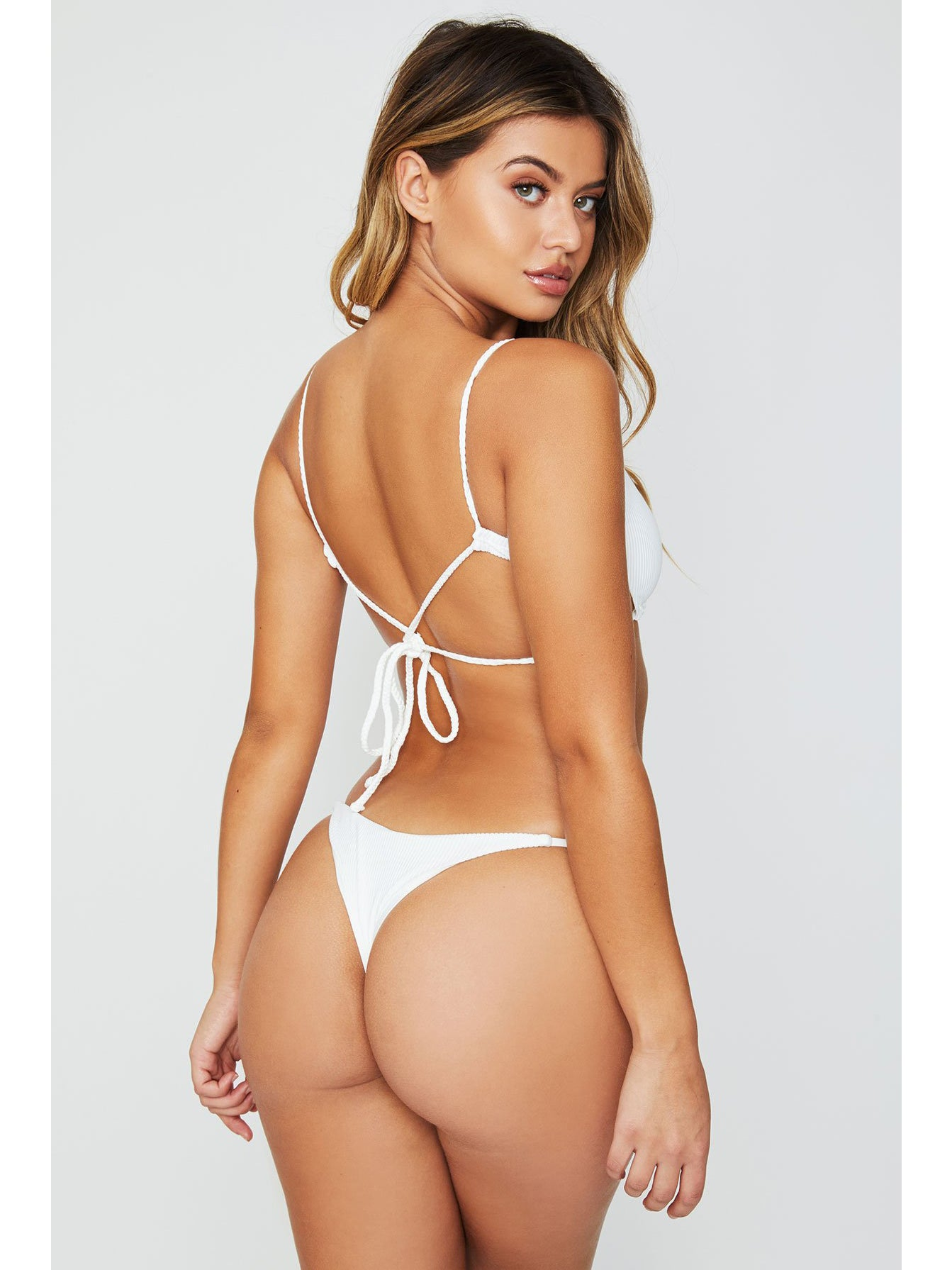 Frankies Bikinis Willa Ribbed Top White