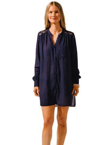 Koy Resort Bondi Lace Back Shirt Dress Navy
