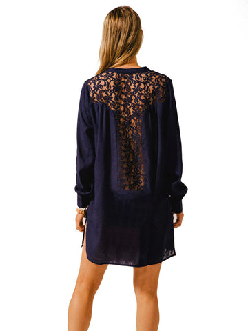 Bondi Lace Back Shirt Dress Navy