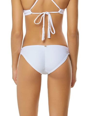 PilyQ Water Lily Basic Ruched Full Bottom White