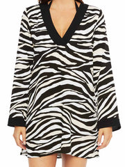 La Blanca Abstract Zebra V Neck Tunic Black/Cream, view 3, click to see full size