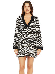 La Blanca Abstract Zebra V Neck Tunic Black/Cream, view 1, click to see full size