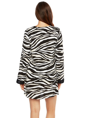Abstract Zebra V Neck Tunic Black/Cream