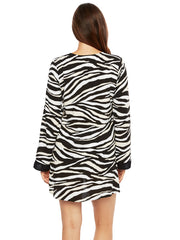 La Blanca Abstract Zebra V Neck Tunic Black/Cream, view 2, click to see full size