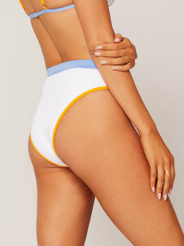 L*Space Frenchi High Waist Bottom White/Mango/Blue