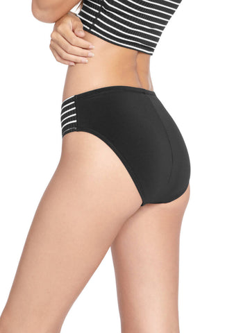 Robin Piccone Sailor High Waist Bottom Black/White