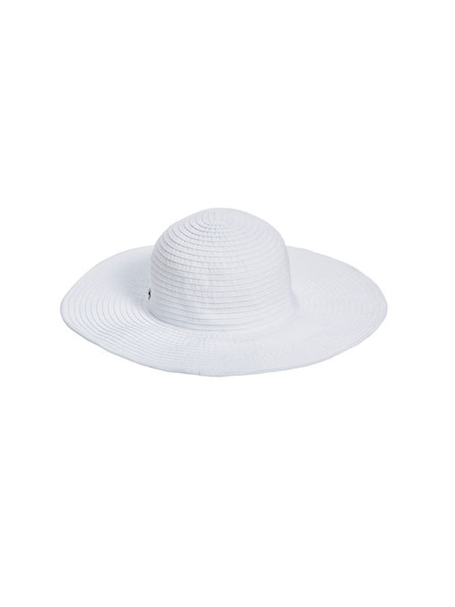Seafolly Lizzy Ribbon Hat White