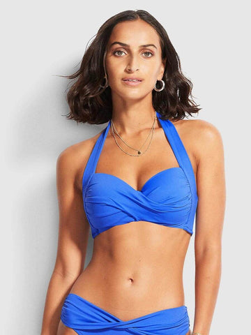Seafolly Twist Soft Cup Halter In Mediterranean Blue