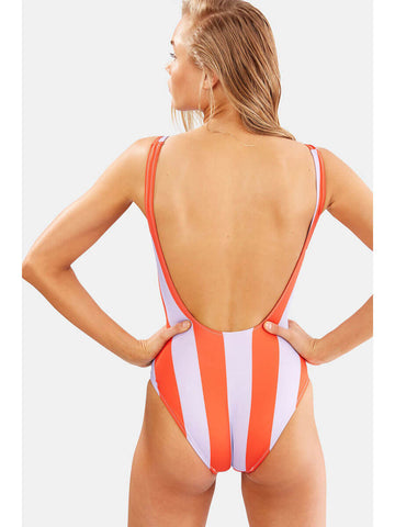 Solid & Striped The Anne-Marie One Piece Lavender Red Stripe