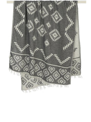 Handloom Tribe Towel Black, view 2, click to see full size