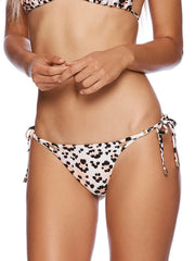 Beach Bunny Animal Instinct Piper Skimpy Tie Bottom Pink Leopard