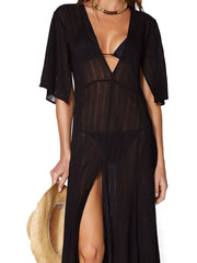 ViX Solid Malia Caftan Black, view 3, click to see full size