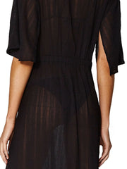 ViX Solid Malia Caftan Black, view 4, click to see full size