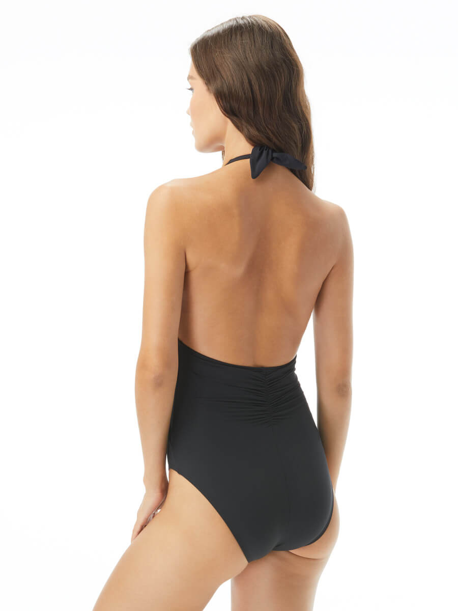 Carmen Marc Valvo Saint Tropez Deep V-neck Halter One Piece Black