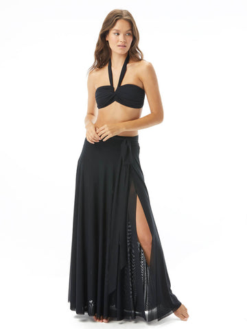 Carmen Marc Valvo Mesh Tie Long Skirt Black