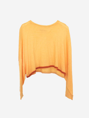 Pitusa Long Sleeve Crop Top in Peach