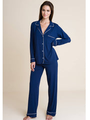 Eberjey Gisele Long PJ Set in Navy/Ivory, view 1, click to see full size