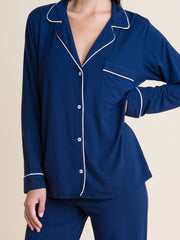 Eberjey Gisele Long PJ Set in Navy/Ivory, view 3, click to see full size