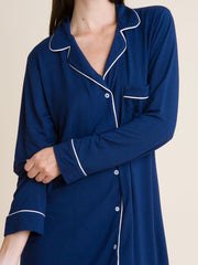 Eberjey Gisele Sleep Shirt in Navy/Ivory, view 3, click to see full size