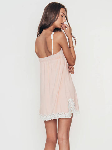 Eberjey Lady Godiva Chemise in Pink Clay/Off White
