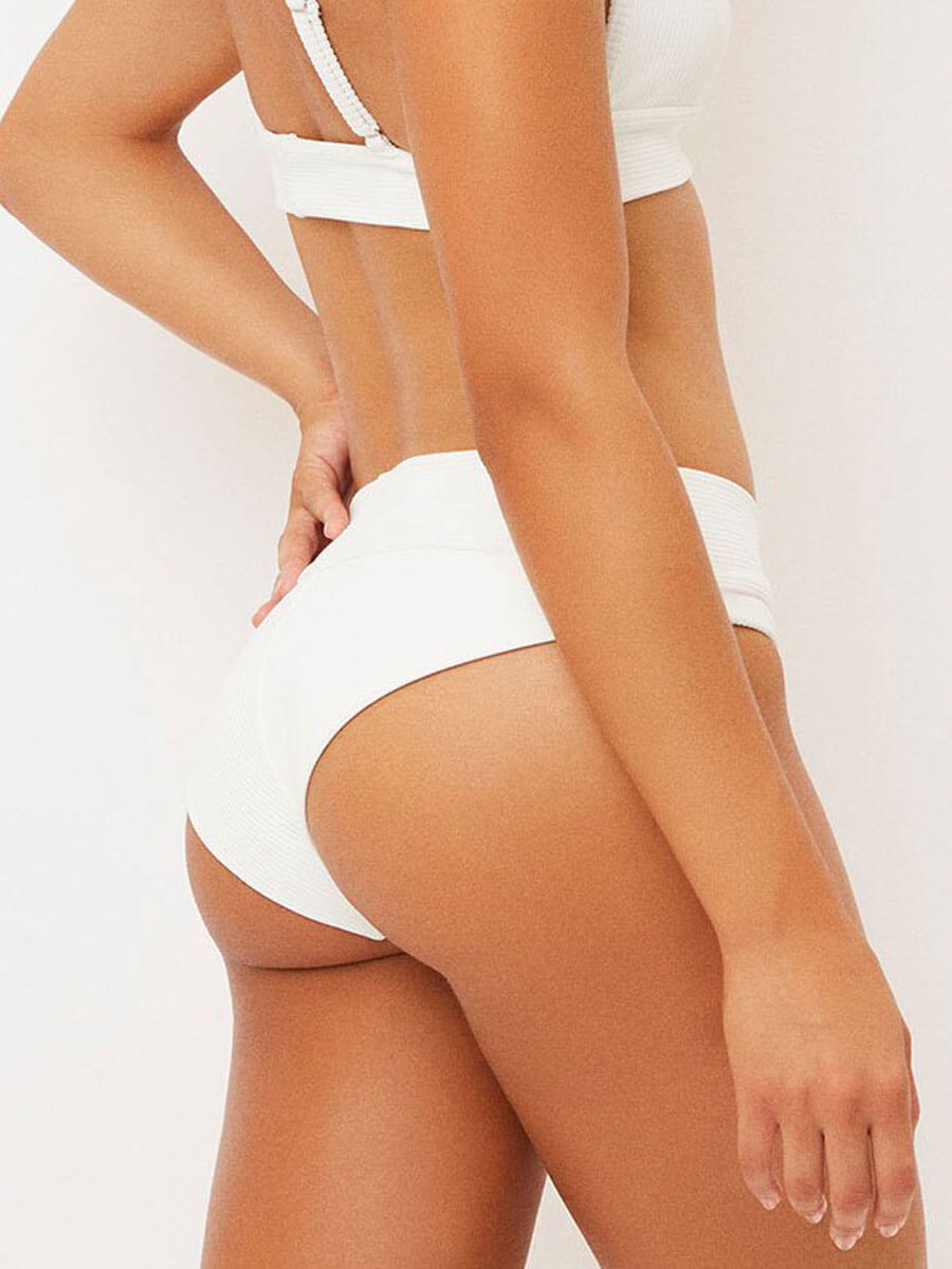 Frankies Bikinis Gavin Ribbed Bottom In White