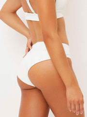 Frankies Bikinis Gavin Ribbed Bottom In White, view 2, click to see full size