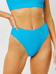 Frankies Bikinis Jenna Ribbed Bottom In Ocean, view 1, click to see full size