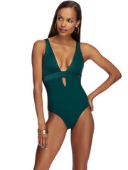JETS Lustrous Plunge One Piece Mediterranean, view 1, click to see full size