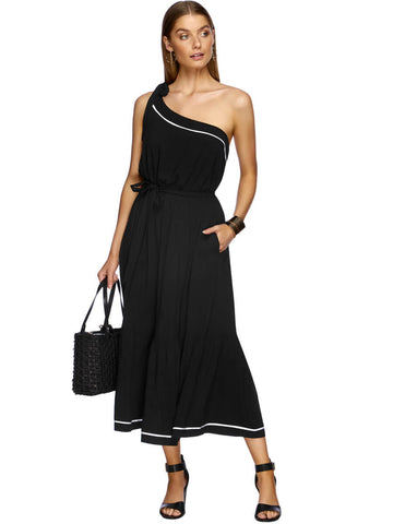 JETS Classique One Shoulder Dress Black