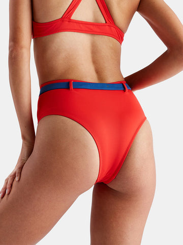 Solid & Striped Josephine High Waisted Bottom Red