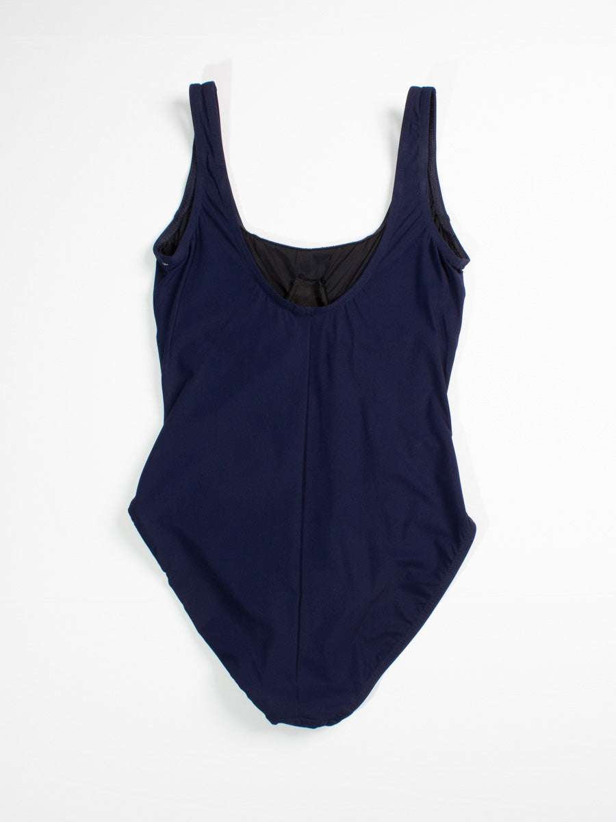 Karla Colletto One Piece Scoop Neck Tank In Navy