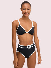 Kate Spade Daisy Buckle High Waist Bottom Black, view 2, click to see full size