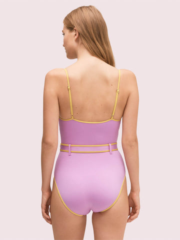 Kate Spade Daisy Buckle One Piece Belted Tank Candied Lilac
