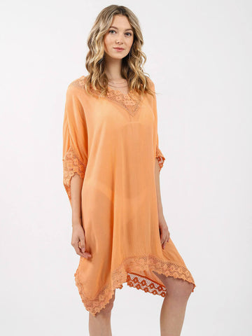 Koy Resort Miami Crochet Trim Kaftan Cantaloupe